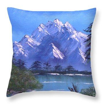 Shadowed Mountain Lake Throw Pillow