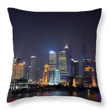 Shanghai China Skyline At Night From Bund Throw Pillow