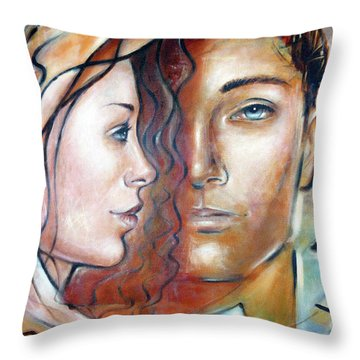 Throw Pillow featuring the painting She Loves Me 140709 by Selena Boron