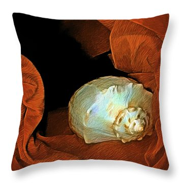 Throw Pillow featuring the mixed media Shell On Satin by Lynda Lehmann