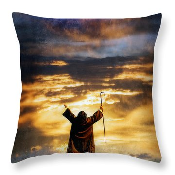 Shepherd Arms Up In Praise Throw Pillow