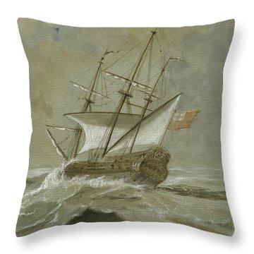 Ship At The Storm Throw Pillow