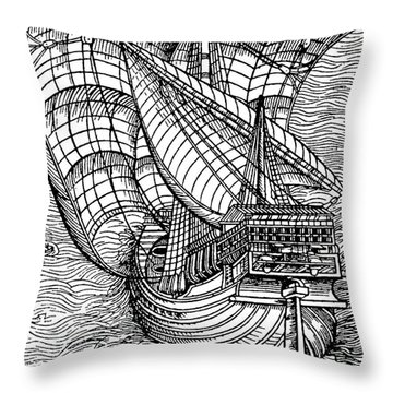 Ship From The Time Of Christopher Columbus Throw Pillow