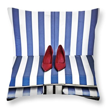 Shoes In A Beach Chair Throw Pillow by Joana Kruse