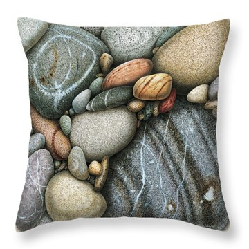 Shore Stones 3 Throw Pillow by JQ Licensing