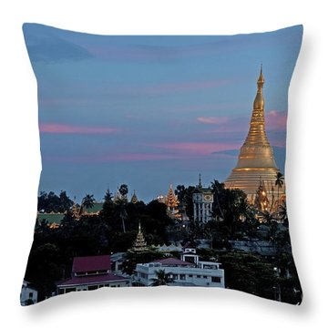 Shwedagon Pagoda In Yangon Myanmar Throw Pillow