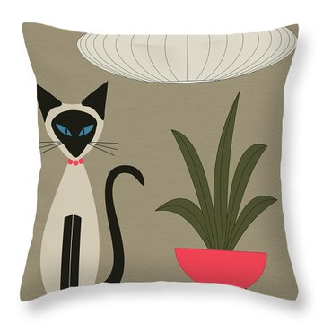 Siamese Cat On Tabletop Throw Pillow