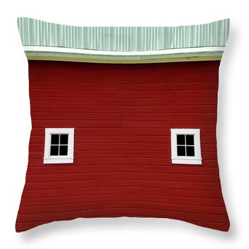 Side Of A Big Red Barn In The Palouse Throw Pillow
