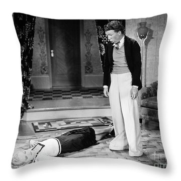 Silent Film Still: Fainting Throw Pillow by Granger