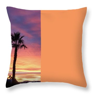 Silhouetted Palm Trees Throw Pillow by Robert Bales