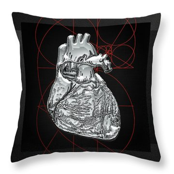 Silver Human Heart On Black Canvas Throw Pillow by Serge Averbukh
