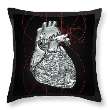 Silver Human Heart On Black Canvas Throw Pillow