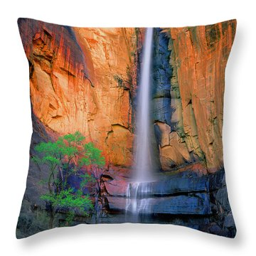 Sinawava Falls Throw Pillow