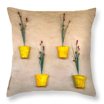 Six Flower Pots On The Wall Throw Pillow