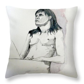 Throw Pillow featuring the painting Sketch For White Amber by Ray Agius