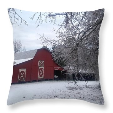 Skip Kelly's Barn Throw Pillow