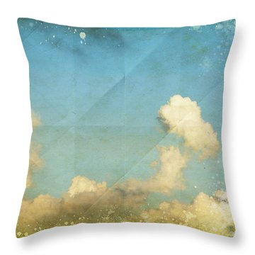 Sky And Cloud On Old Grunge Paper Throw Pillow