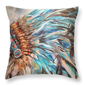 Sky Feather Throw Pillow by Heather Roddy