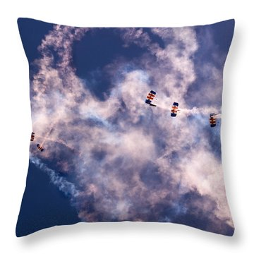 Sky Surfing Throw Pillow by Angel  Tarantella
