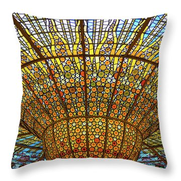 Skylight In Palace Of Catalan Music  Throw Pillow
