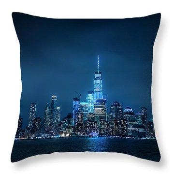 Skyline At Night Throw Pillow