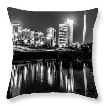 Skyline Of Birmingham Alabama From Railroad Park Throw Pillow
