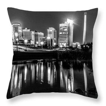 Skyline Of Birmingham Alabama From Railroad Park Throw Pillow by Alex Grichenko