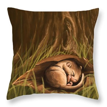 Throw Pillow featuring the painting Sleeping  by Veronica Minozzi