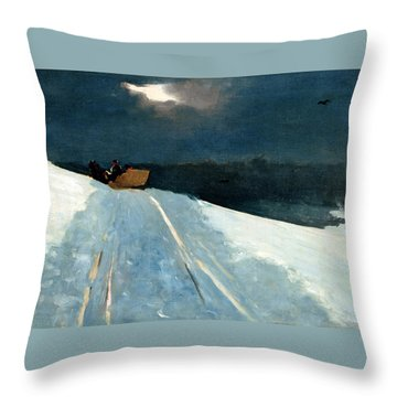 Throw Pillow featuring the painting Sleigh Ride by Winslow Homer