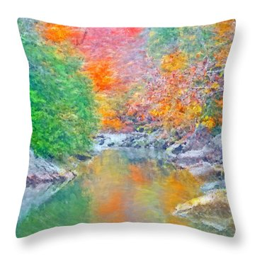 Slippery Rock Creek In Autumn Throw Pillow
