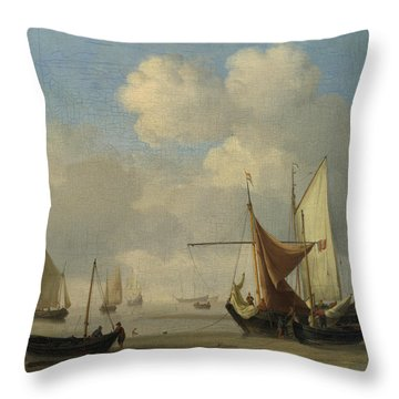 Small Dutch Vessels Aground At Low Water In A Calm Throw Pillow