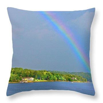 Smith Mountain Lake Rainbow Throw Pillow