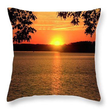 Smith Mountain Lake Silhouette Sunset Throw Pillow