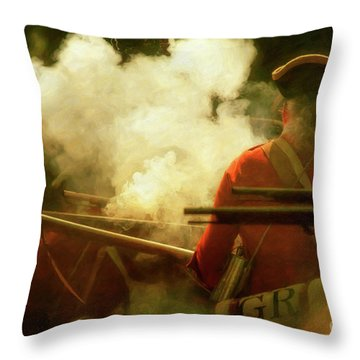 Throw Pillow featuring the digital art Smoke In The Forest by Randy Steele