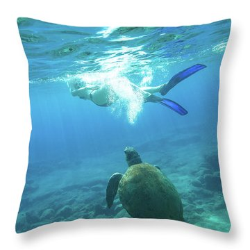 Snorkeler Female Sea Turtle Throw Pillow