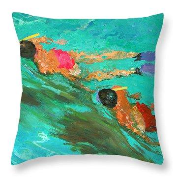 Snorkelers  Throw Pillow