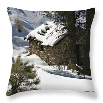 Snow Cabin Throw Pillow