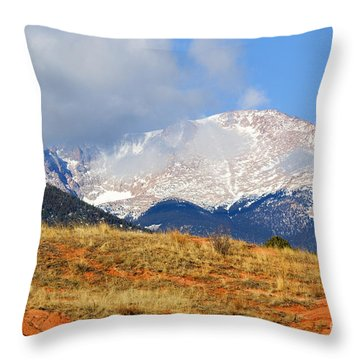 Snow Capped Pikes Peak Colorado Throw Pillow