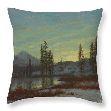 Snow In The Rockies Throw Pillow by Albert Bierstadt