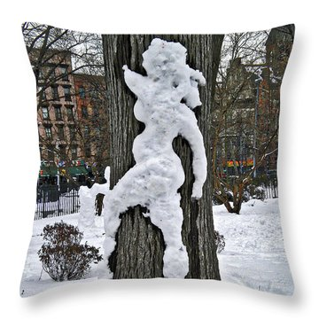 Throw Pillow featuring the photograph Snow Lady by Joan Reese