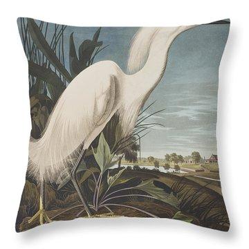Snowy Heron  Throw Pillow