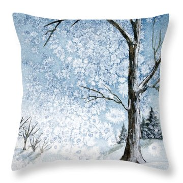 Snowy Night Throw Pillow by Rebecca Davis