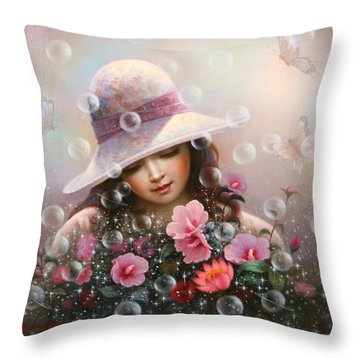 Soap Bubble Girl - Rose Sharon Of Song Throw Pillow