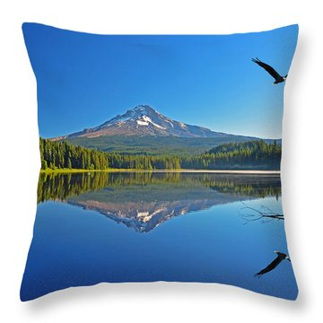 Soaring Bald Eagle Throw Pillow by Jack Moskovita