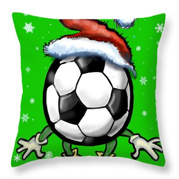 Soccer Christmas Throw Pillow by Kevin Middleton
