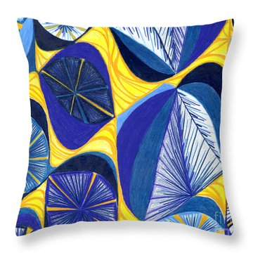 Throw Pillow featuring the drawing Solar Rays by Kim Sy Ok