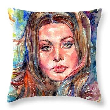 Sophia Loren Painting Throw Pillow
