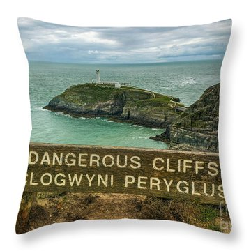 Throw Pillow featuring the photograph South Stack Lighthouse by Ian Mitchell