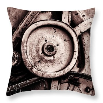 Soviet Ussr Combine Harvester Abstract Cogs In Monochrome Throw Pillow