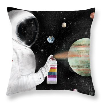 Throw Pillow featuring the painting Space Graffiti by Bri B